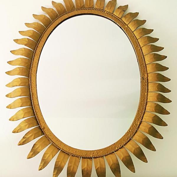 [:es]Espejo sol ovalado años 60 vintage[:en]vintage oval sunburst mirror [:]